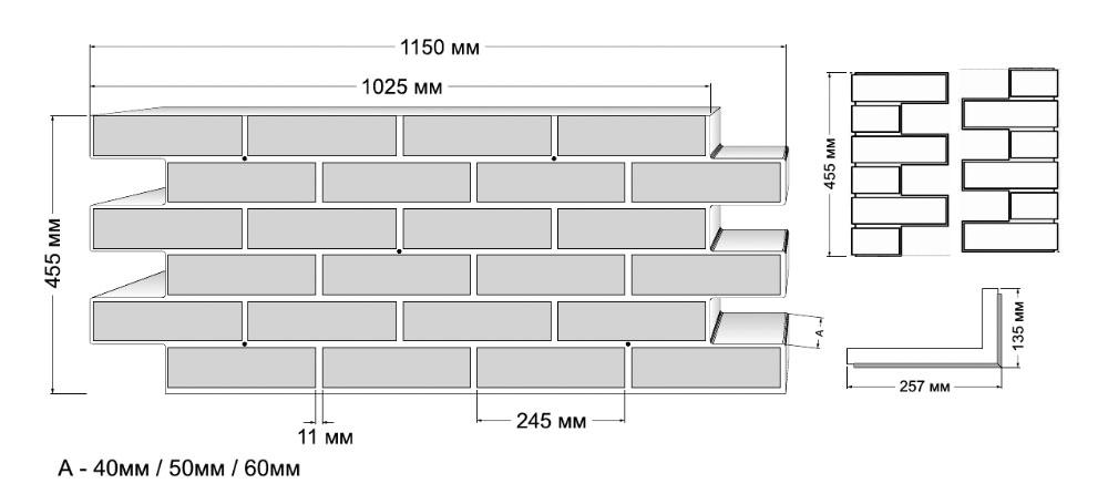 Размер готовых термопанелей НЕОТЕРМ